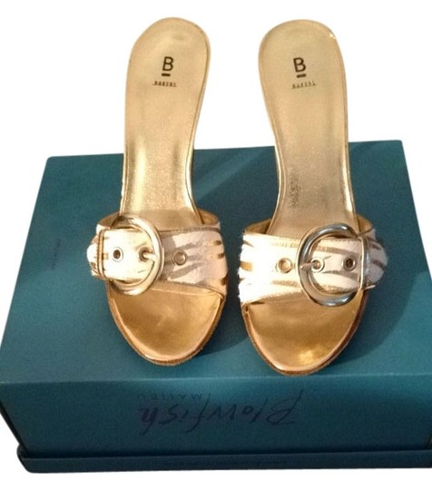 Bakers Gold And White Zebra Pumps