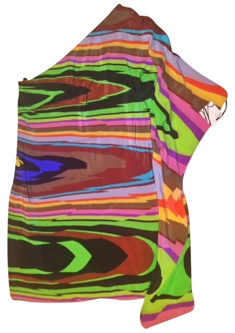 MILLY One Shoulder Silk Multi-colored Dress