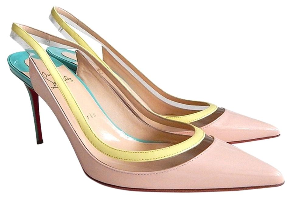 29165ae5cd5 Christian Louboutin Pink Green Yellow New Multicolor Paulina Sling Patent  Leather/Pvc-size 39 Pumps Size US 8 Regular (M, B) 25% off retail