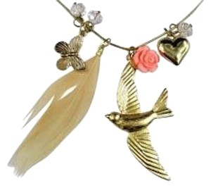 Betsey Johnson Betsey Johnson Charm Necklace bird Feather Flower Rose Crystals J1945