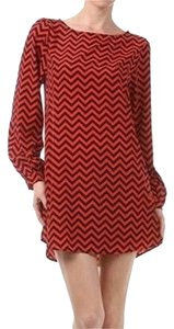 Everly short dress Red and Navy Chevron Long Sleeved on Tradesy