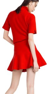 Zara White Navy Plaid Check Mini Skirt Red