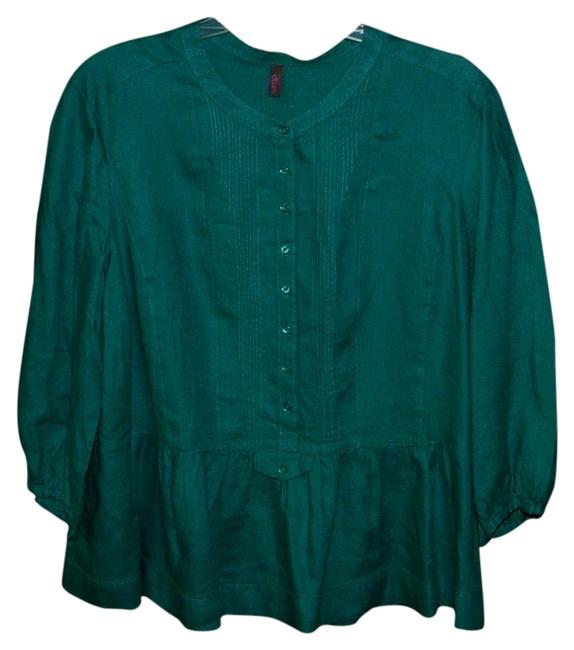 Item - Teal Uk Designer Wrap Linen Quirky Pin Tucked Tunic Size 16 (XL, Plus 0x)