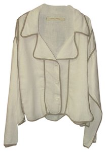 Other Linen Artsy Unstructured Jacket Cream Blazer