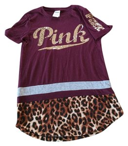 PINK T Shirt Maroon/Chita gold sequence