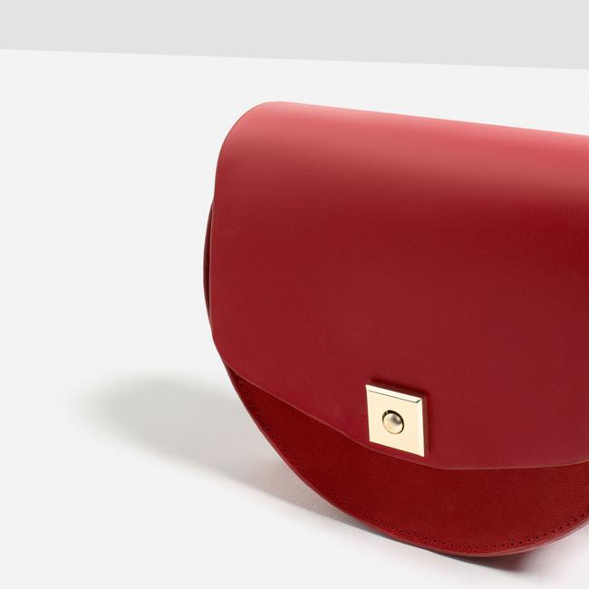 Item - Suede Round Contrasting Mini Red Cow Leather Messenger Bag