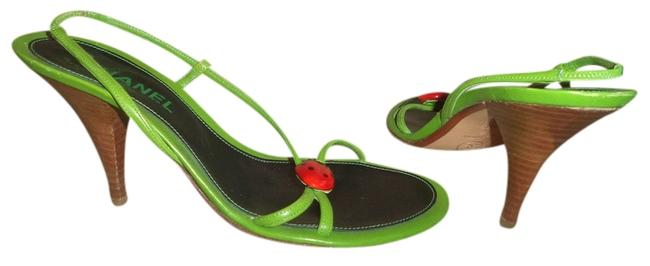 Item - Lime Green Red Strappy Heels Ladybug Detail 38.5 Made In Italy Sandals Size US 8 Regular (M, B)