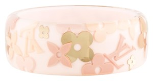 Louis Vuitton Clear, Beige, Pink, Gold LV logo floral monogram Louis Vuitton Inclusion wide bangle New