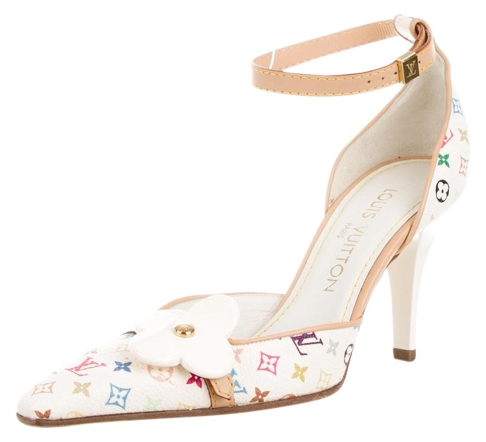 a1b12985375 Louis Vuitton Multicolor White Leather Monogram Pointed-toe 36 New Pumps