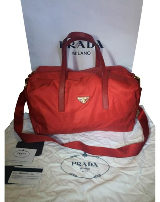Item - Red Nylon+leather Weekend/Travel Bag