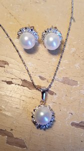 Gorgeous Cz Faux Pearl Bridal Necklace Set