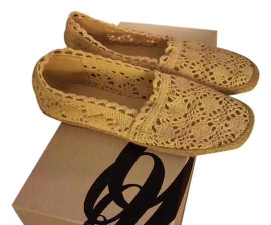 Nine West Natural Fabric Padded Footbed Imported Slip-ons Crochet Ivory Flats