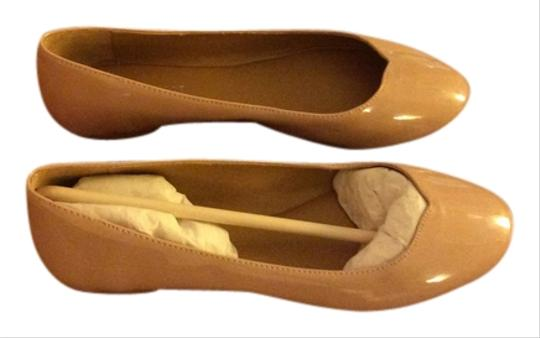 Nine West Patent Leather Imported Tan Nude Flats