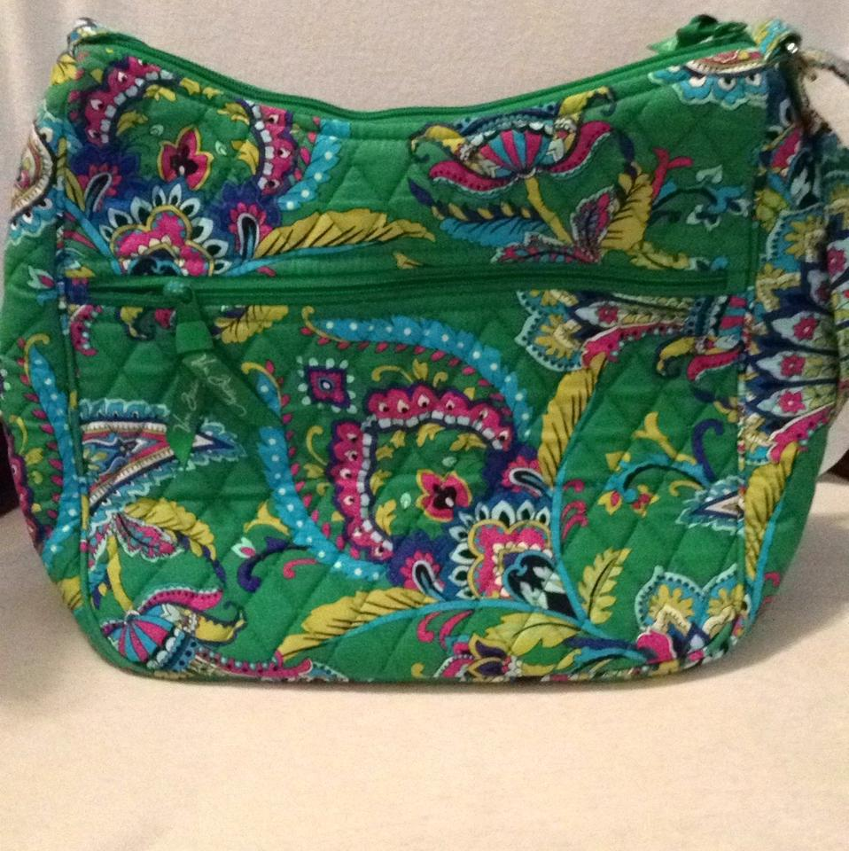 Vera Bradley Emerald Paisley Carryall Crossbody Convertible Green Quilted Cotton Shoulder Bag Tradesy