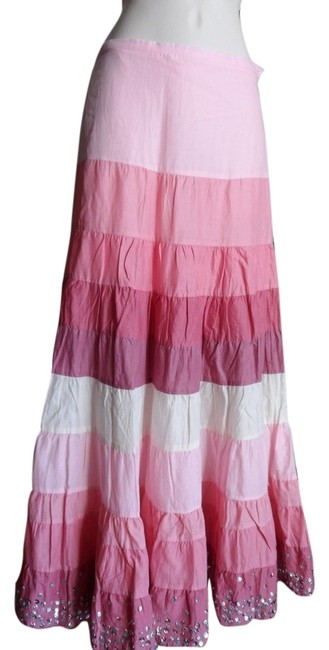 Item - Pink Multi Country Style Tones Sequins Skirt Size 12 (L, 32, 33)