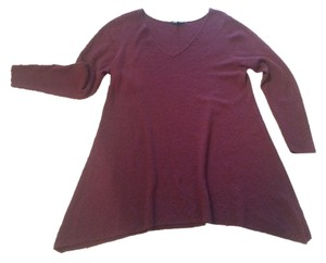 Eileen Fisher Wool Rose Brick Red Long Tunic Sweater