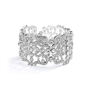 Mariell Silver Vintage Couture Crystal Cuff Bracelet