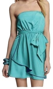 Express short dress Green Pleated Strapless on Tradesy