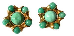 Chanel CHANEL VINTAGE 93C MINT GREEN BALL CABOCHON EARRINGS