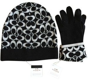 Coach Coach Knit Logo Touch Hat and Gloves