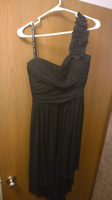 Item - Black High-low with Floral One Shoulder Modern Bridesmaid/Mob Dress Size 16 (XL, Plus 0x)