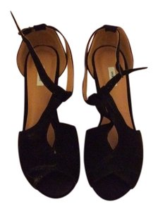 Urban Outfitters Pumps T-strap Suede Black Wedges