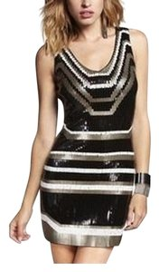 Express Sequin Geometric Coctail Lbd Dress