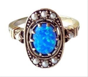 Antique Art Deco Black Opal Seed Pearl & Sterling Silver Ring