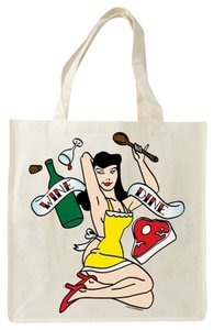Other Environmentally Friendly Hipster Rockabilly Bamboo Foodie Tote in Beige