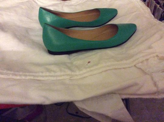 Nine West Leather Imported Padded Footbed Green Flats