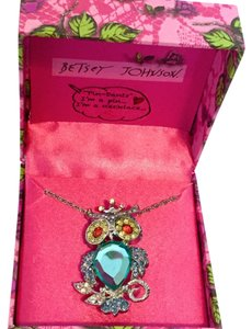 Betsey Johnson Blue Owl Necklace/Pin B09301