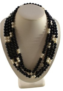 14K STUNNING 79 INCH BLACK ONYX FRESHWATER PEARL NECKLACE NEW!
