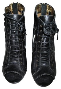 Twelfth St. by Cynthia Vincent Bootie Lace Up Heel Gladiator Black Sandals
