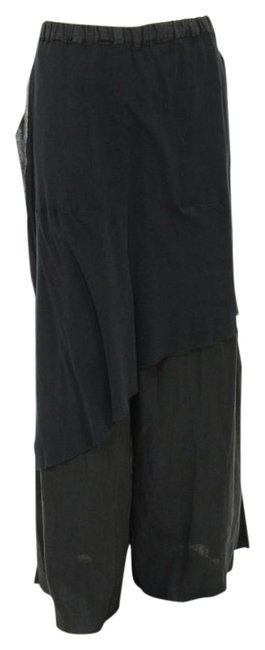Item - Black Baggy Art To Wear Skirted Linen Trousers 1x-2x Pants Size 20 (Plus 1x)