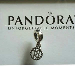 PANDORA Pandora Sterling Silver Sweet 18 Birthday Dangle Charm.