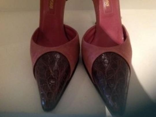 Sergio Rossi Pink and brown crocodile Pumps