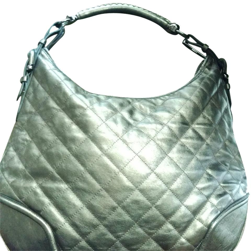 Burberry Xl Hoxton and Gunmetal Hardware Pewter Quilted Leather ... fab1bdb0d5836