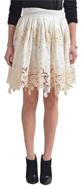 Item - Cream Women's Beads Decorated Lace Pleated Skirt Size 4 (S, 27)