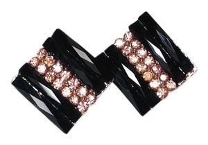 New Square Stud Earrings Black Pink Crystals 1 in. J1949
