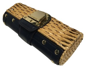 Michael Kors Michael Kors Santorini Rattan Clutch Natural Straw Navy Leather