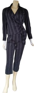 Doncaster DONCASTER Sport Black Striped Cropped Capri Pants Wrap Top Outfit Suit 2/4