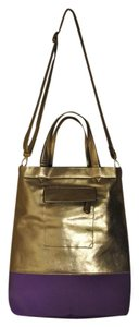 Expressions New Color-blocking Faux Leather Adjustable Crossbody Tote in Gold/ Purple