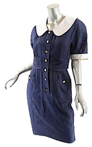 Chanel short dress Navy Vintage Linen on Tradesy
