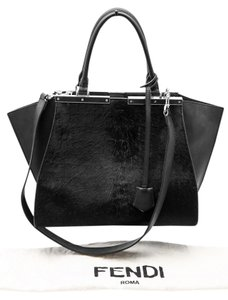 Fendi 3 Jours Textured Leather Tote Calf Leather Satchel in Black
