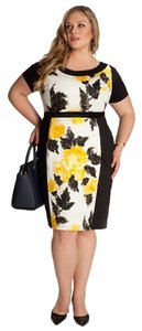 Igigi Black And Yellow Floral Empire Waist Pencil Skirt Dress