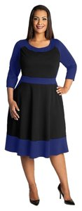Igigi Color Block Royal Blue Empire Waist A-line Pockets Dress