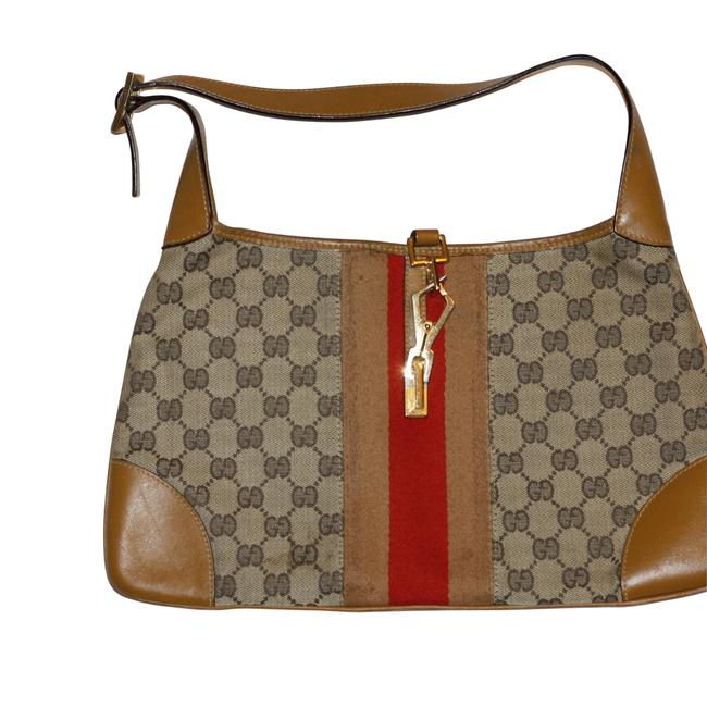Gucci Jackie Beige Gg Canvas Leather Hobo Bag Gucci Jackie Beige Gg Canvas Leather Hobo Bag Image 1