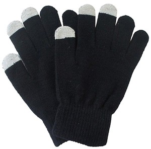 Black Knit Adult Touch Screen Friendly Gloves Free Shipping
