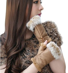 Tan Genuine Fur Trimmed Fingerless Gloves Free Shipping