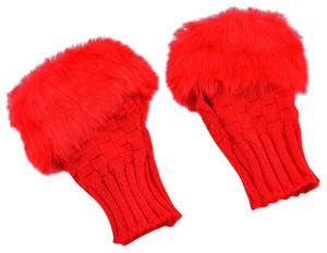 Red Faux Fur Knit Fingerless Gloves Free Shipping